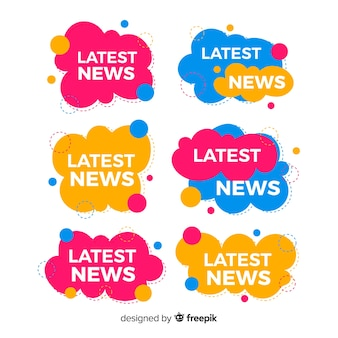 Set de banners coloridos de últimas noticias