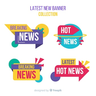 Set de banners coloridos de últimas noticias