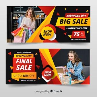 Set de banners de compra de ropa