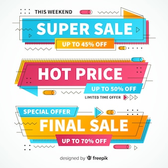 Set de banners de compras de estilo memphis