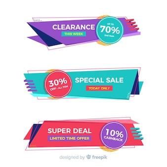 Set de banners de compras de estilo origami