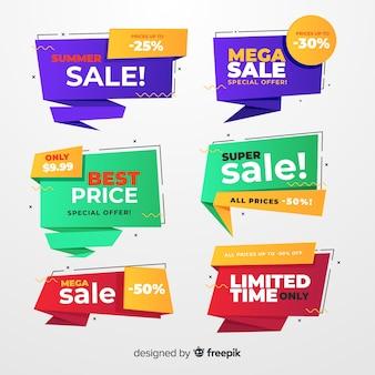 Set de banners de compras en estilo origami