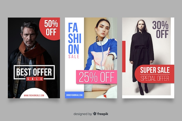 Set de banners de compras de moda