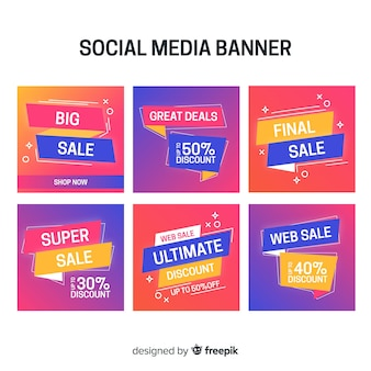 Set de banners de compras para redes sociales