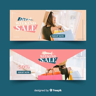 Set de banners de compras de ropa