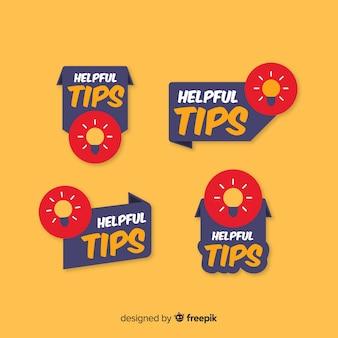 Set de banners de consejos con bombillas