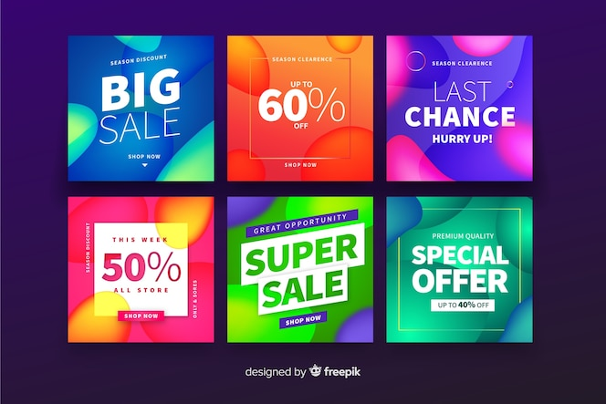 Set de banners cuadrados promocionales
