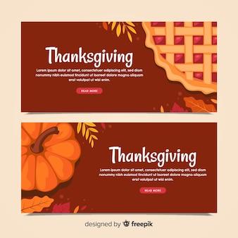 Set de banners del día de acción de gracias con calabaza y pastel