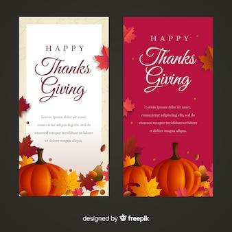Set de banners del día de acción de gracias con calabazas y comida