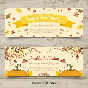 Set de banners de  día de acción de gracias  dibujados a mano