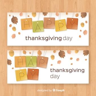 Set de banners del día de acción de gracias con elementos otoñales