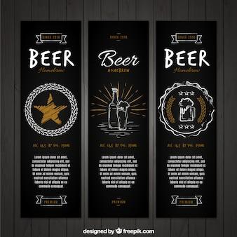 Set de banners elegantes vintage de cerveza