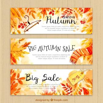 Set de banners fantásticos de rebajas para el otoño