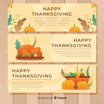 Set de banners de feliz día de acción de gracias