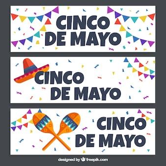 Set de banners de fiesta de cinco de mayo