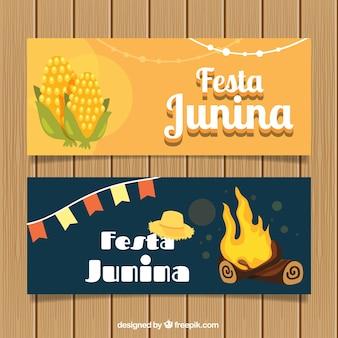 Set de banners de fiesta junina con maíz y hoguera