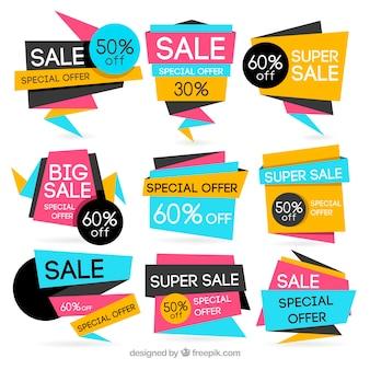 Set de banners geométricos de colores de oferta