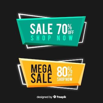 Set de banners geométricos de compras