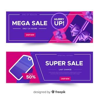 Set de banners geométricos realistas de compras