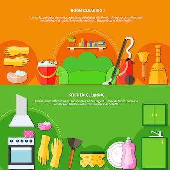 Set de banners de herramientas de limpieza