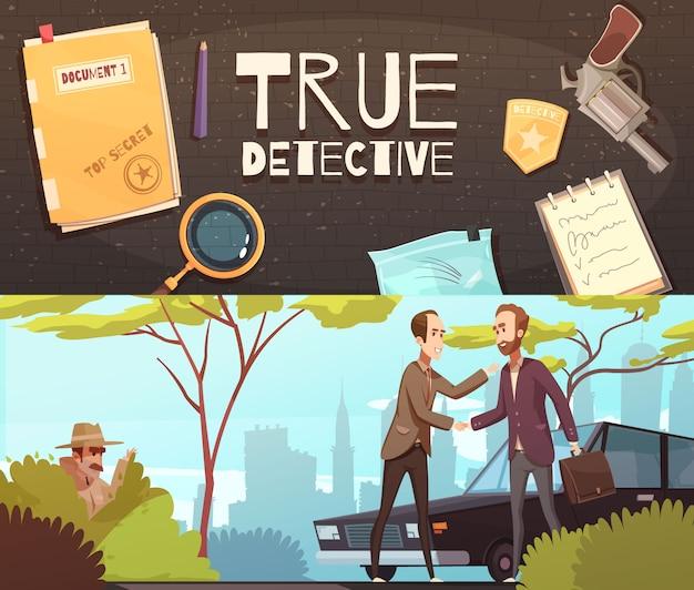 Set de banners de historia de detectives