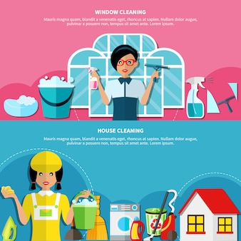 Set de banners de limpieza de casa