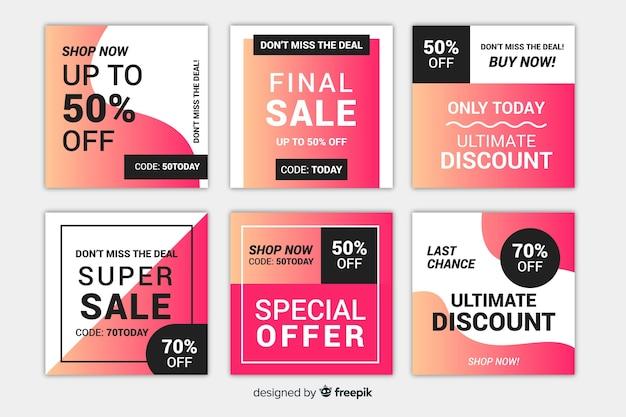 Set de banners de ofertas con formato cuadrado para instagram