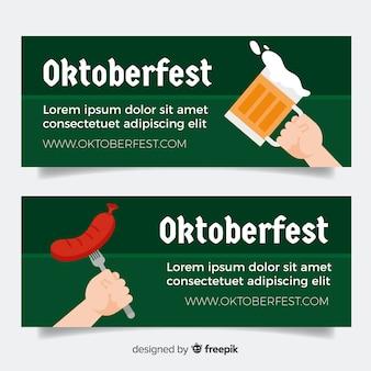 Set de banners de oktoberfest en diseño plano