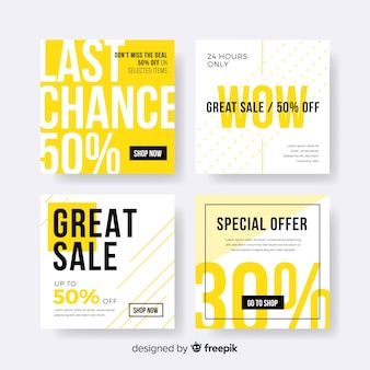 Set de banners online de compras para redes sociales