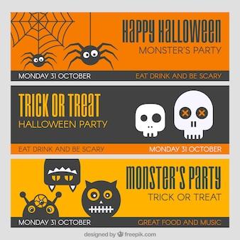 Set de banners planos con artículos de halloween