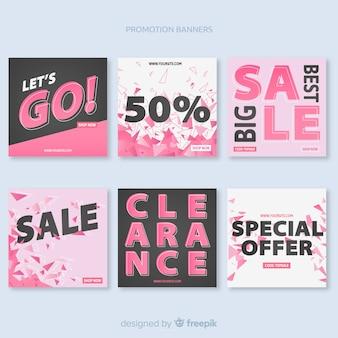 Set de banners promocionales de forma cuadrada