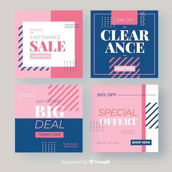 Set de banners promocionales de rebajas para redes sociales