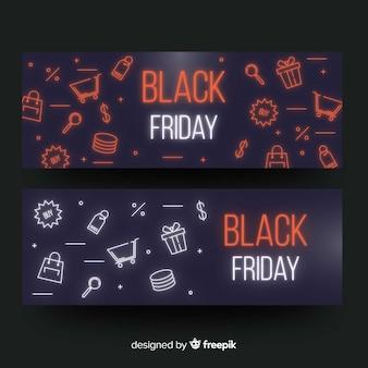 Set de banners de rebajas de black friday en estilo neón