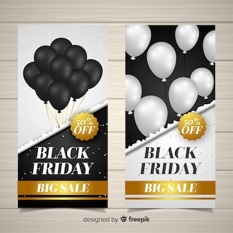Set de banners de rebajas de black friday con globos