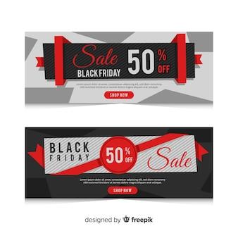 Set de banners de rebajas de black friday con lazo