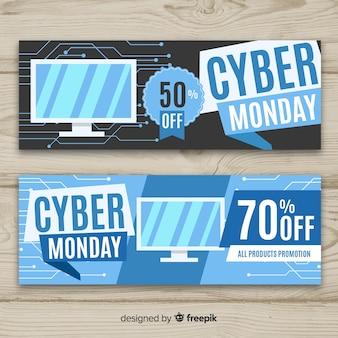Set de banners de rebajas de cyber monday en diseño plano