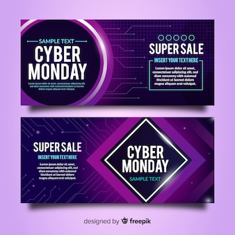 Set de banners de rebajas de cyber monday estilo neón