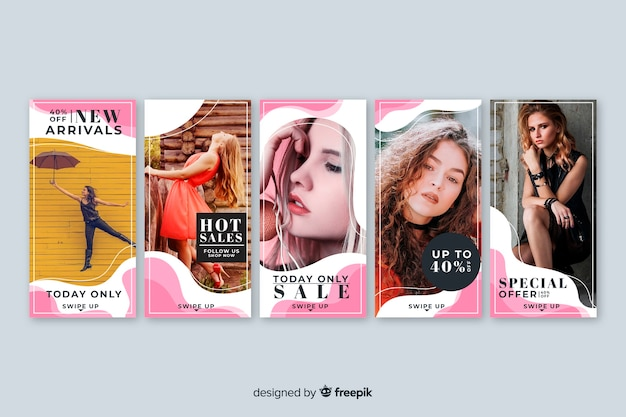 Set de banners de rebajas con imagen