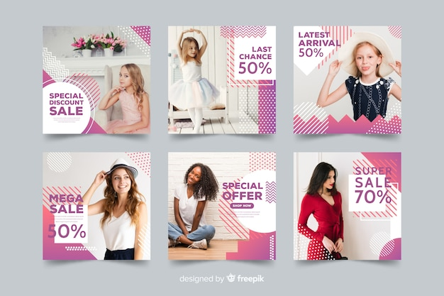 Set de banners de rebajas de moda con foto