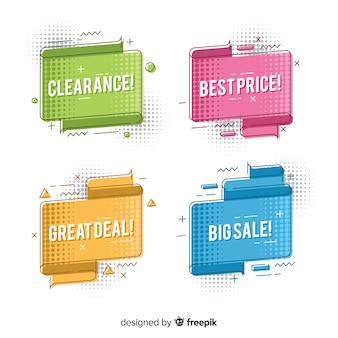 Set banners de rebajas origami coloridos