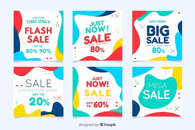 Set de banners de rebajas para redes sociales