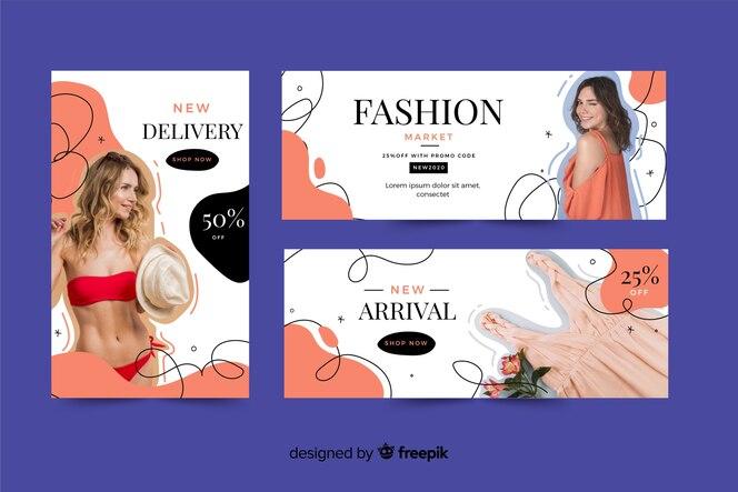 Set de banners de rebajas de ropa con imagen