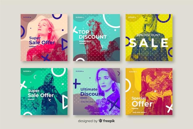 Set de banners de redes sociales de rebajas de moda