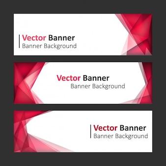 Set de banners rojos con formas poligonales