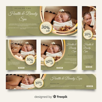 Set de banners de spa con imagen