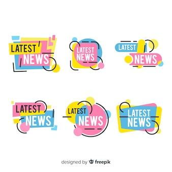 Set banners últimas noticias formas geométricas planas