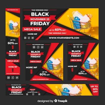 Set de banners web realistas de rebajas de black friday con carro de la compra
