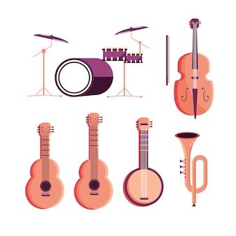 Set batería con violín y guitarras con banjo y corneta.