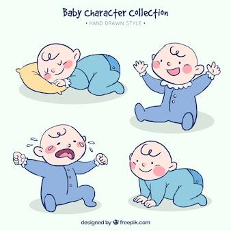 Set de bebé dibujado a mano en cuatro acciones