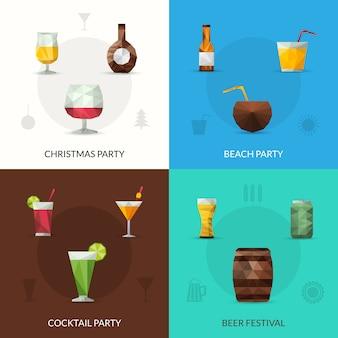 Set de bebidas poligonal